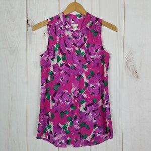 J. Crew | Career Pink Print Sleeveless Blouse - 00
